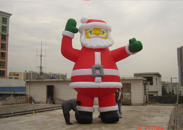 Customzied 6M Inflatable Ssanta Claus , PVC Santa Claus Air Balloon For Advertising