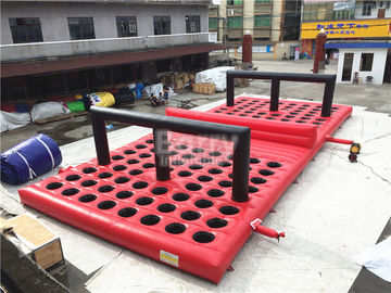 Commercial Funny Game Red Inflatable Obstacle Course For Amusement Park