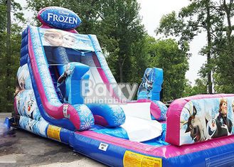 0.55mm PVC Frozen Inflatable Water Slide With Pool / Giant Amusement Water Park Game