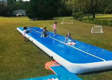 Professional Double Fabric Wall Water Game Slip And Slide Long Air Track With Air Pump
