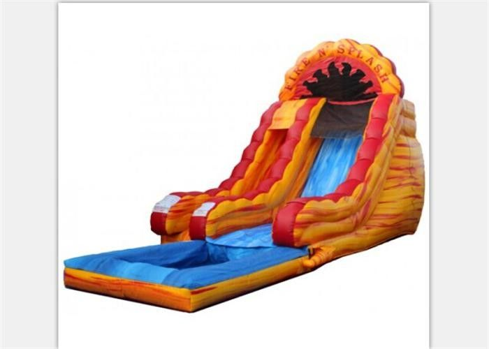 6M Height Yellow Children Outdoor Inflatable Water Slide With Pool
